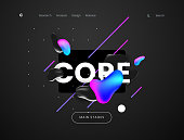 Landing page template with a dark scifi background - Core, can be used for science, technology, engineering, electronics and futuristic cyberspace theme web sites. Header for website. Vector