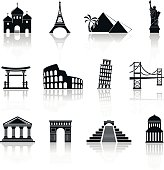Landmarks Icons Set. Vector Illustration