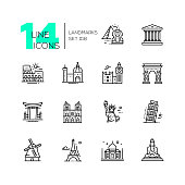 Landmarks - vector modern single line icons set. Differents landmarks as Statue of Liberty, Taj Mahal, Tower of London, Pyramid, Torii.