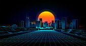 Retro background  landscape 1980s style.  Retro 80s Sci-Fi background city Landscape. Futuristic background retro wave.