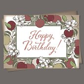 Landscape A4 format romantic birthday greeting card template with brush lettering calligraphy flowers and apples sketch. Great for holiday design.