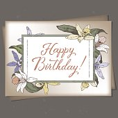 Landscape A4 format romantic birthday greeting card template with brush lettering calligraphy and orchids sketch. Great for holiday design.