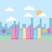 landscape building skyscraper tree heaven urban vector illustration