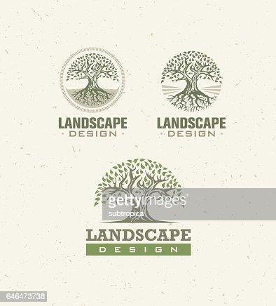 Concepto de Vector creativo de diseño de paisaje. Árbol con las raíces adentro Círculo signo orgánico conjunto sobre artesanal de papel. : Arte vectorial