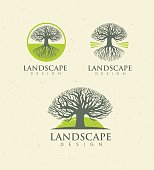 Landscape Design Creative Vector Concept. Tree With Roots Inside Circle Organic Sign Set On Craft Paper Background