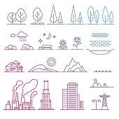 Landscape design elements in vector.