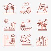 Landscape icons, thin line style, flat design