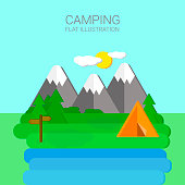 Summer camp in pine forest near river