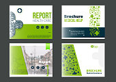 Landscape Medical Brochure Cover Template set in green color. Flyer with inline medicine icons, Modern power point Concept for slider. Vector report.