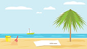 Landscape of sea of sandy tropical beach with palm tree on clear summer day. children's bucket and shovel in the sand. blanket and a book on sand of beach. Vector flat. Beach seascape. Rest on sea
