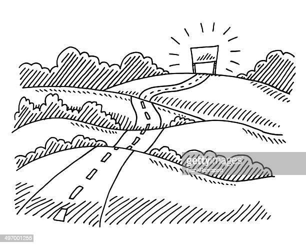 Strada termina concetto di disegno di paesaggio