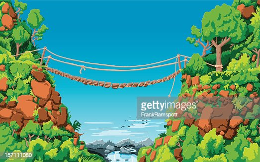 Landscape Rope Bridge Gully : Vector Art