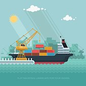 Landscape seaport. The crane which unloads. Carrier, Cranes in Port Load Containers on the Container Ship. Flat vector illustration