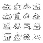 Landscape thin line set. Forest and valley, park image, rural and agriculture farming environment. Vector line art illustration isolated on white background