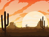 A high quality background of landscape with desert and cactus. Sunset on a background of a mountain landscape. Flat style.