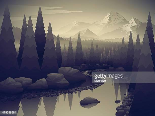 Landschaft mit Wald Fluss und die Berge