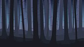 Landscape with silhouettes of blue trees in dark night forest - vector illustration.