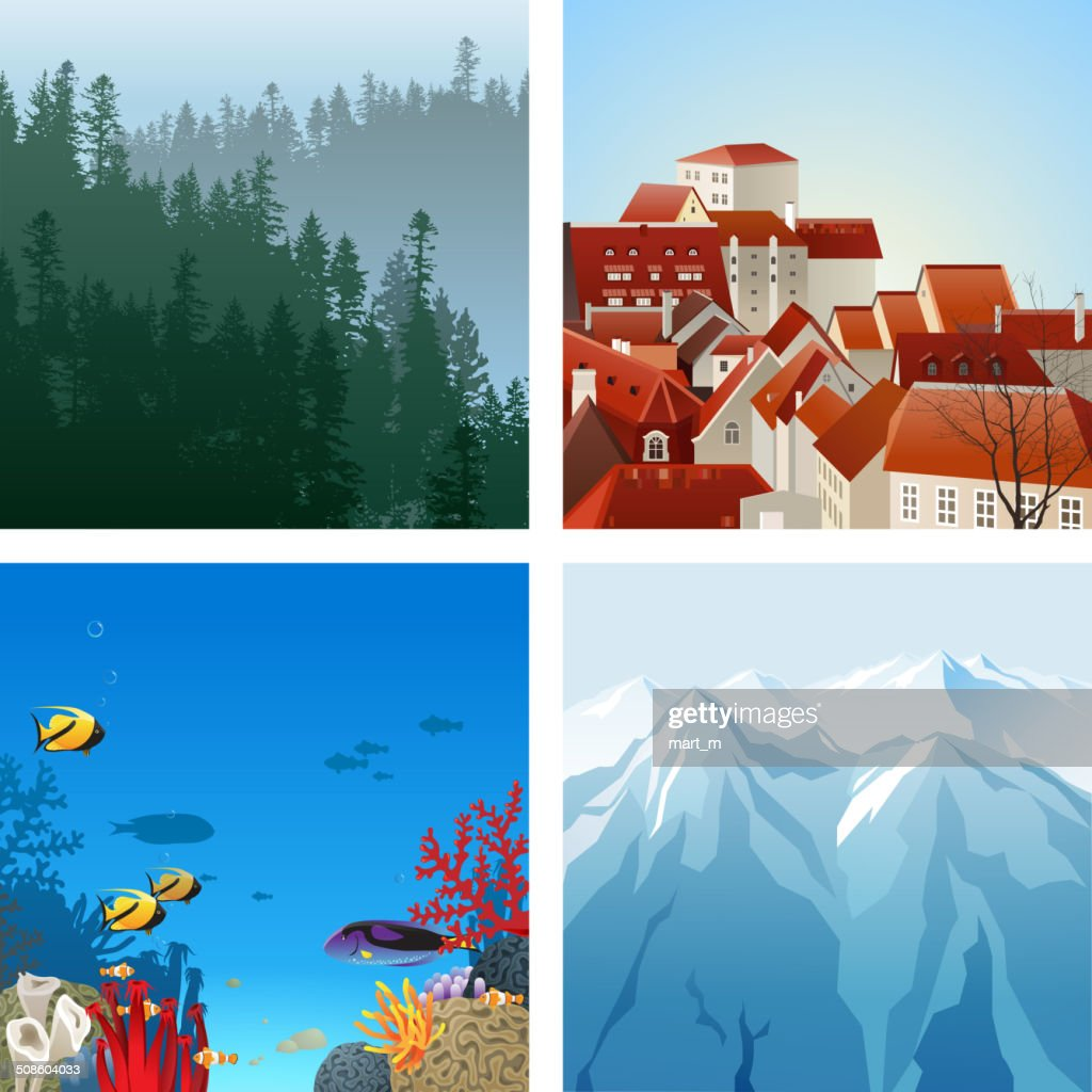 Conjunto de paisagens : Arte vetorial