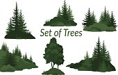 Set Landscapes, Isolated on White Background Green Silhouettes Coniferous and Deciduous Trees and Grass on the Rocks. Vector.