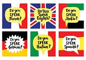 Language school banners set. Modern calligraphy. Speech bubbles on national flags. Hand written lettering. Vector illustration