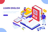 Language school concept. Can use for web banner, infographics, hero images. Flat isometric vector illustration isolated on white background.