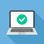Laptop and check mark. Notebook and round green tick icon, checkmark on white screen. Successful update, accept, access granted, confirm, ok button, task completed concepts. Modern long shadow flat de