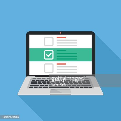 Laptop and checkboxes with check mark. Checklist, white tick on laptop screen. Choice, survey concepts. Modern flat design vector illustration : Vector Art