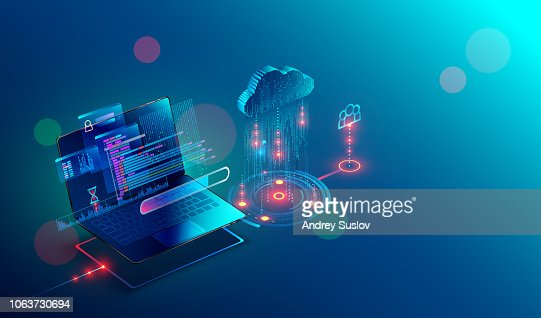laptop. cloud storage. shared access. Isometric. : Vector Art