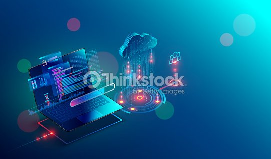 laptop. cloud storage. shared access. Isometric. : stock vector