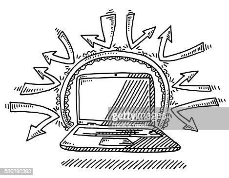 Laptop Computer Internet Security Firewall Drawing Vector