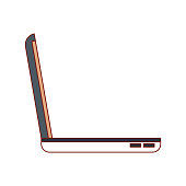 laptop computer side view in colorful silhouette vector illustration