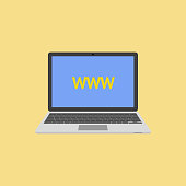 Laptop flat style with abbreviation WWW on screen. vector illustration