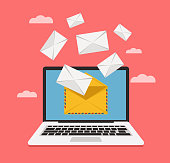Laptop get email envelope on personal post on screen. Vector flat cartoon illustration