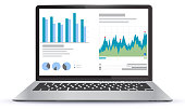 Laptop Illustration With Financial Charts and Graphs Screen. Easy editable EPS file.