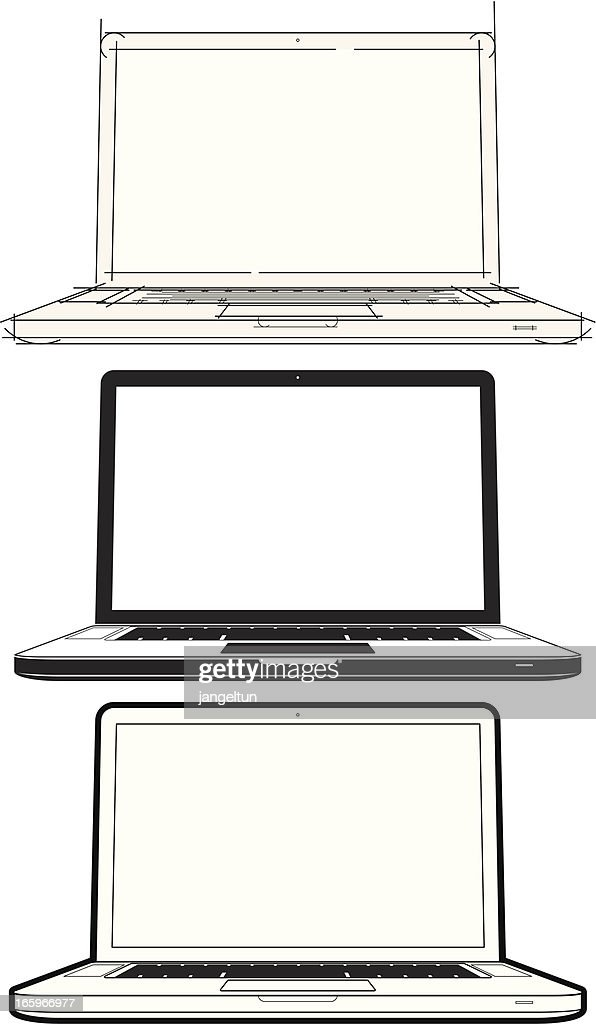 Line Art Laptop : Laptop lineart vector art getty images