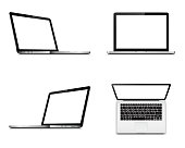 Laptop screen mockup with perspective, top and front view. Set of vector laptops with blank screen isolated on white background.