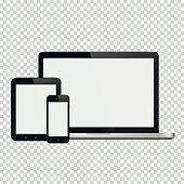 Laptop, smartphone and tablet mockup. Isolated on transparent background. Vector illustration.