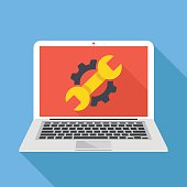 Laptop with cog and wrench repair icon. Repair service, maintenance, customization, restore concepts. Flat design vector illustration