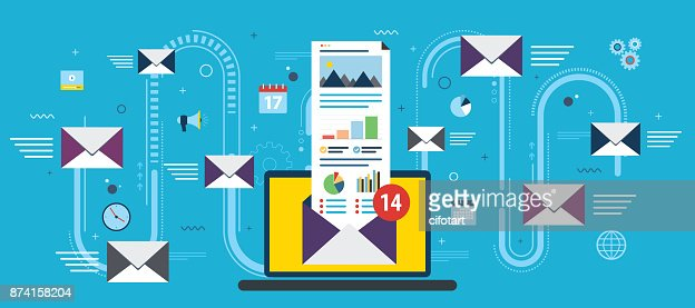 Laptop with envelope and open email on screen. : stock vector
