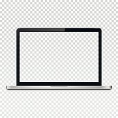 Laptop with transparent screen isolated on transparent background. Vector illustration.