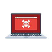 Laptop with virus files on screen. Cybercrime and cyber security concept. Vector illustration in flat style isolated on white background