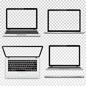 Set of laptops with transparent screen in different positions isolated on transparent background. Vector illustration.