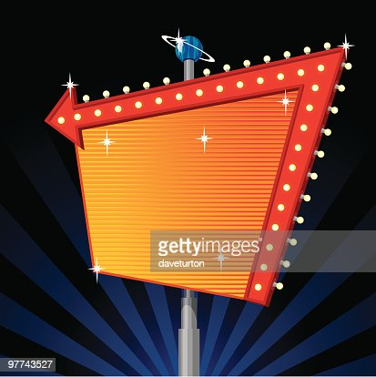 Large blank marquee sign with red arrow and lights : Vector Art
