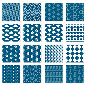 Large collection of seamless Japanese patterns. Geometric vector backgrounds for your design.