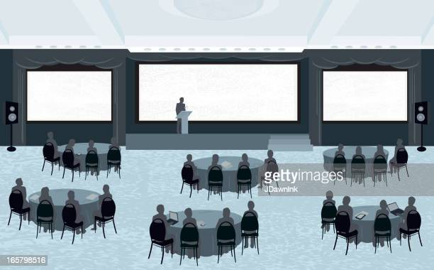 Large conference with three screens