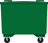 Large, four-wheeled, green waste wheelie bin vector