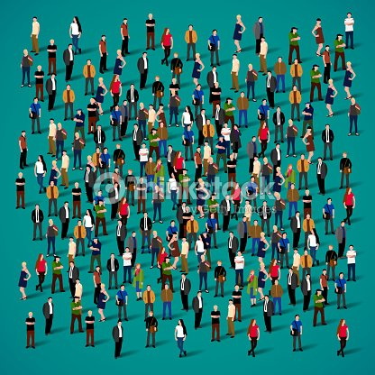 Large group of people crowded on white background. : stock vector