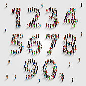 Large group of people in number set form. Vector illustration