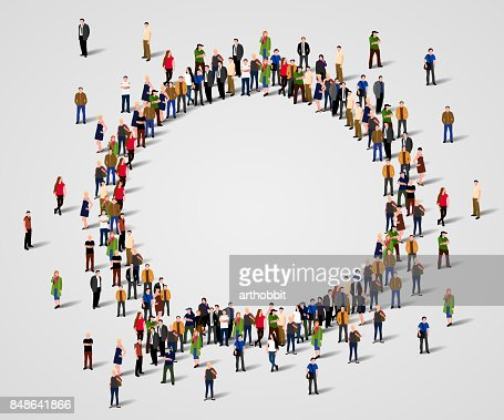 Large group of people in the chat bubble shape. : Vector Art