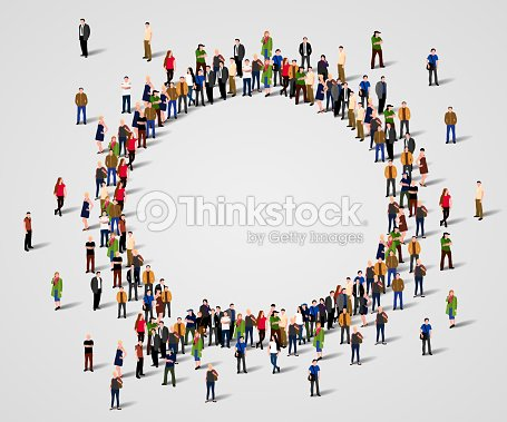 Large group of people in the chat bubble shape. : stock vector